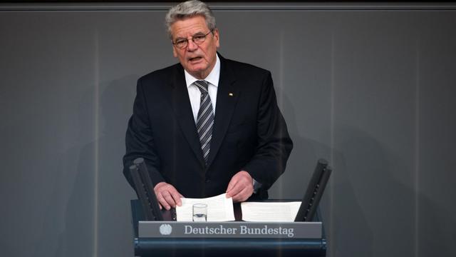 Le président allemand, Joachim Gauck, le 14 juin 2013 au Bundestag [Johannes Eisele / AFP]