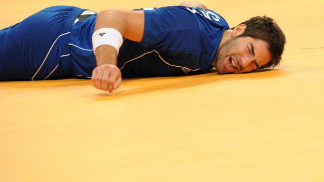 Nikola Karabatic lors de la demi-finale du tournoi de handball masculin des jeux Olympiques de Pékin, le 22 août 2008 [Saeed Khan / AFP/Archives]