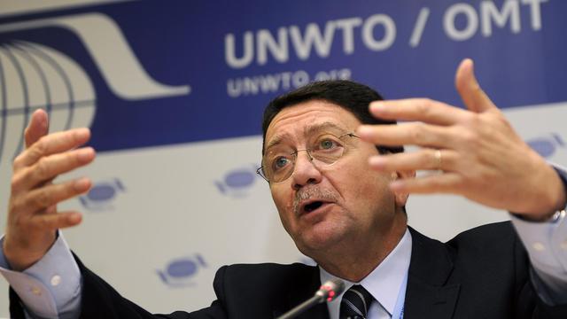 Le secrétaire général de l'Organisation mondiale du tourisme (OMT), Taleb Rifai, lors d'une conférence de presse en 2011 [Dominique Faget / AFP/Archives]