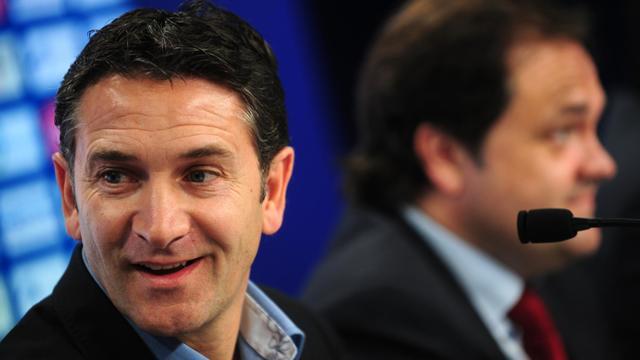 L'entraîneur de la Real Sociedad Philippe Montanier, lors d'une conférence de presse, le 8 juin 2011 à Saint Sébastien [Rafa Rivas / AFP]