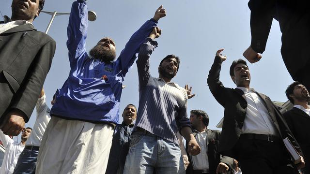 "Une manifestation contre le film anti-islam ""Innocence of Muslims"", le 14 septembre 2012 à Srinagarn en Inde [Tauseef Mustafa / AFP]"