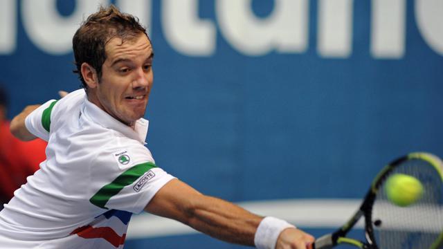 Richard Gasquet, lors de son match du tournoi de Bangkok contre le Bulgare Grigor Dimitrov, le 27 septembre 2012. [Pornchai Kittiwongsakul / AFP]