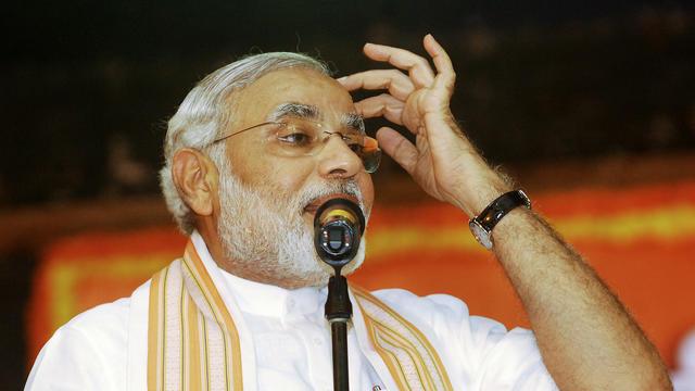 L'homme politique indien Narendra Modi prend la parole lors d'un meeting du BJP, le parti conservateur, le 9 juin 2013 à Goa [ / AFP]