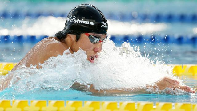 Le Japonais Akihiro Yamaguchi pendant son 200 m brasse record le 15 septembre 2012 à Gifu [Jiji Press / AFP]