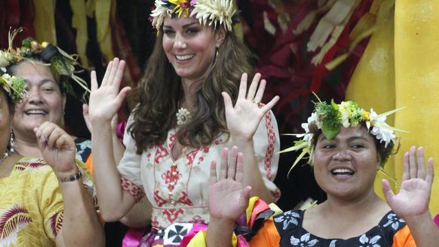 La Duchesse de Cambridge, le 19 septembre 2012 à Funafuti, principal atoll de Tuvalu [Tony Prcevich / AFP/Archives]