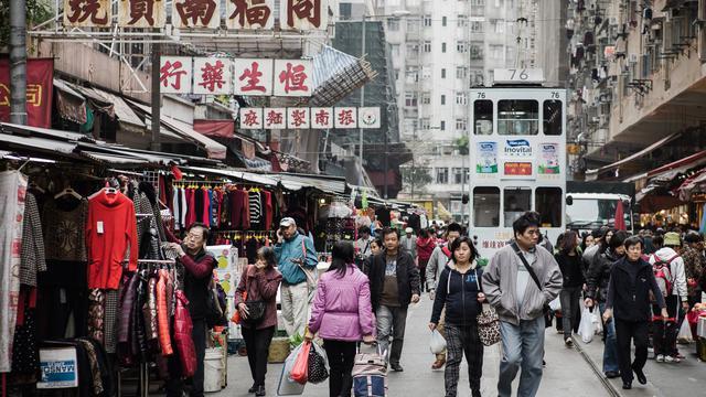 Une rue de Hong Kong, photographiée le 15 janvier 2013