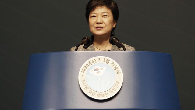 La présidente de Corée du Sud, Park Geun-hye, le 1er mars 2013 à Séoul [Ahn Young-Joon / Pool/AFP/Archives]