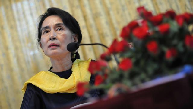 La chef de l'opposition birmane, Aung San Suu Kyi, à Rangoun le 10 mai 2013 [Ye Aung Thu / AFP/Archives]