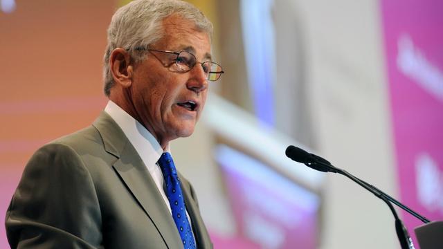 Le chef du Pentagone Chuck Hagel participe, le 1er juin 2013 à Singapour, à un forum sur la sécurité [Roslan Rahman / AFP]