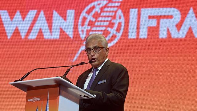 Jacob Mathew, président de l'Association mondiale des journaux et éditeurs de médias d'information (Wan-Ifra), le 3 juin 2013, lors de la cérémonie d'inauguration du congrès annuel [Pornchai Kittiwongsakul / AFP]