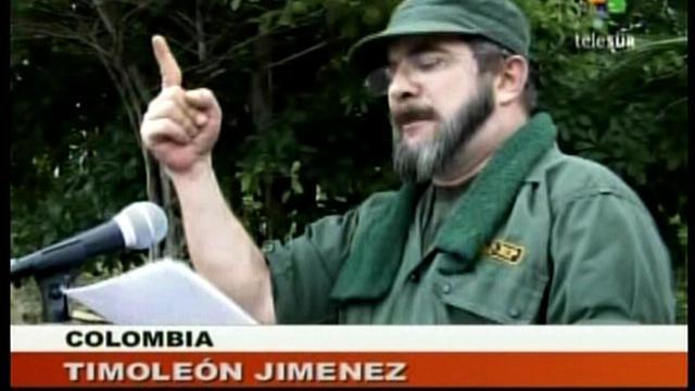 Capture d'écran d'une vidéo Telesur montrant le chef des Farc, Timoleon Jimenez, le 25 mai 2008 [ / Telesur/AFP]