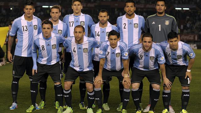 Le onze de départ argentin avant le match qualificatif contre la Colombie au Mondial le 7 juin 2013 au stade Monumental [Alejandro Pagni / AFP/Archives]