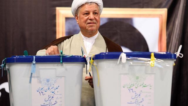L'ex-président modéré Akbar Hachémi Rafsandjani  lors de la résidentielle, le 12 juin 2009 à Téhéran [Javad Moghimi / Agence Fars/AFP/Archives]