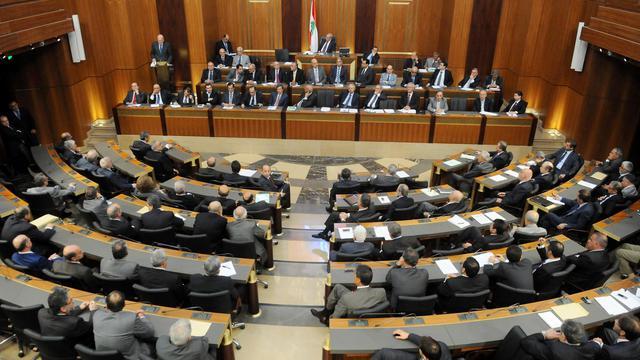Le Premier ministre libanais Najib Mikati s'adresse au parlement, le 7 juillet 2011 [ / Parlement libanais/AFP/Archives]