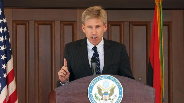 L'ambassadeur américain en Libye, Chris Stevens, victime de l'attaque du consulat de Benghazi, lors d'un discours à Tripoli le 26 août 2012 [Mahmud Turkia / AFP/Archives]
