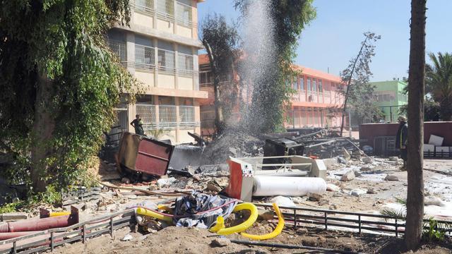 Photo fournie par l'agence syrienne SANA d'un bâtiment militaire détruit le 25 septembre 2012 par une explosion à Damas [- / AFP]