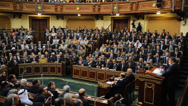 Photo mise à disposition par la présidence égyptienne et montrant le président Mohamed Morsi en train de s'adresser le 29 décembre 2012 au Sénat, au Caire [ / EGYPTIAN PRESIDENCY/AFP]