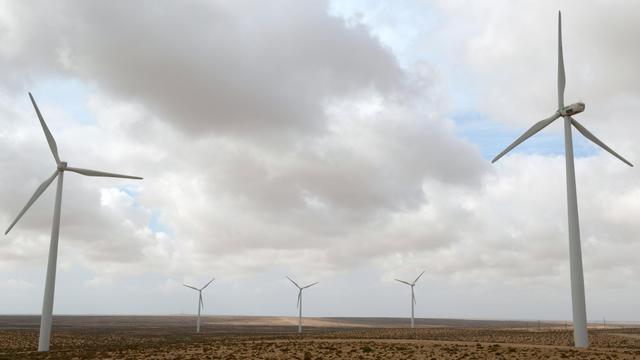 Des éoliennes dans le parc de Tarfaya, au maroc, le 14 mai 2013 [Fadel Senna / AFP]