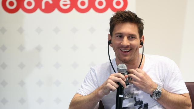 Le footballeur argentin du FC Barcelone Lionel Messi parle lors d'une conférence de presse à Doha, le 20 mai 2013 [Karim Jaafar / AFP]