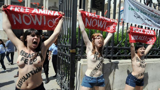 Trois militantes de Femen manifestent le 29 mai 2013 devant le palais de justice de Tunis [Fethi Belaid / AFP]