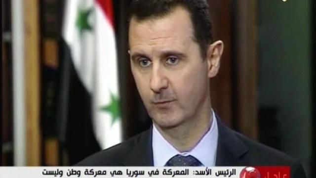 Capture d'écran de l'interview de Bachar al-Assad à la chaîne de télévision Al-Manar, le 30 mai 2013 [- / AL-MANAR/AFP]