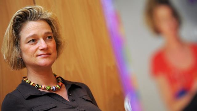 """Delphine Boël, """"fille naturelle"""" présumée du roi des Belges Albert II, le 9 avril 2008 à Bruxelles [Dirk Waem / Belga/AFP/Archives]"""