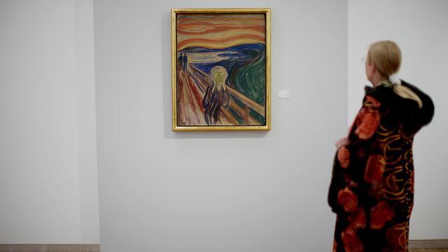 """""""Le Cri"""" du peintre Edvard Munch exposé à Oslo, le 23 mai 2008 [Solum, Stian Lysberg / Scanpix/AFP/Archives]"""