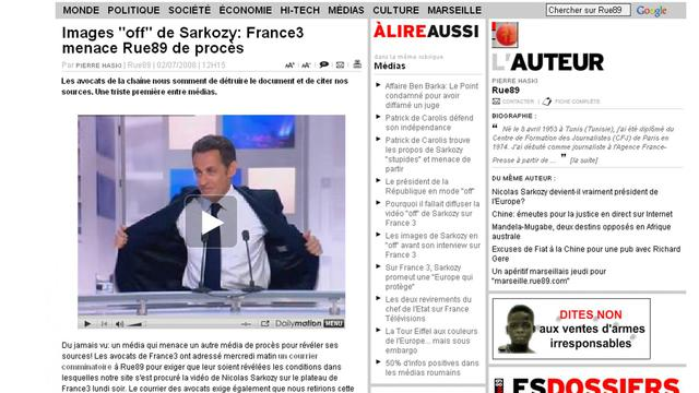 Saisie d'écran d'une page du site internet de Rue89 [ / AFP/Archives]