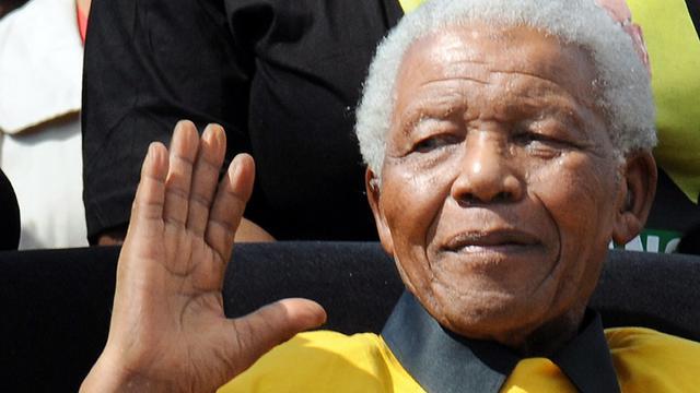 L'ex-président sud-africain Nelson Mandela à un rassemblement de l'ANC, le 19 avril 2009 à Johannesburg [Alexander Joe / AFP/Archives]