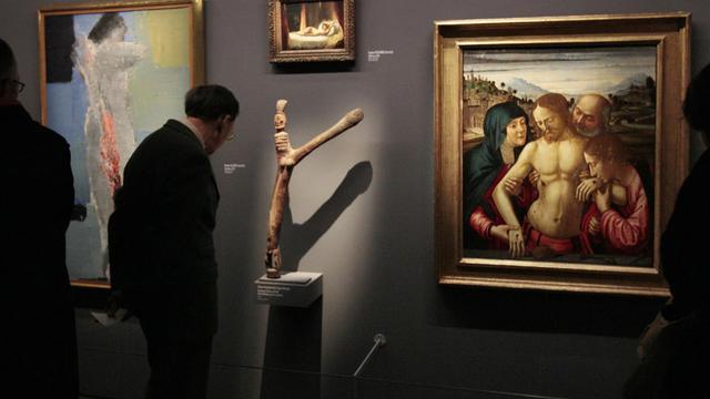 """L'un des plus célèbres tableaux de Nicolas de Staël, """"Nu debout (g) exposé le 26 janvier 2011 à Paris [Jacques Demarthon / AFP/Archives]"""