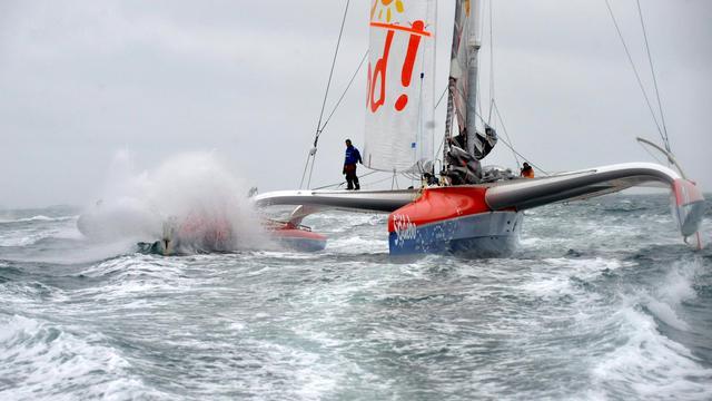 Le navigateur français Thomas Coville sur son bateau Sodebo, le 31 mars 2011, lors de son Tour du monde en solitaire [Fred Tanneau / AFP]