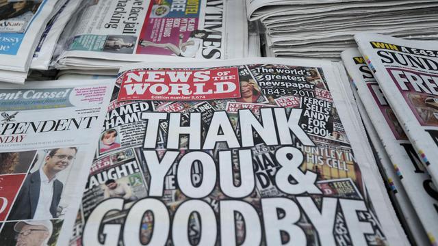 La dernière édition du tabloïde britannique News of the World à Londres le 10 juillet 2011 [Carl Court / AFP/Archives]