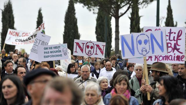 Des opposants au gaz de schiste, le 23 octobre 2011 à Barjac [Gerard Julien / AFP/Archives]