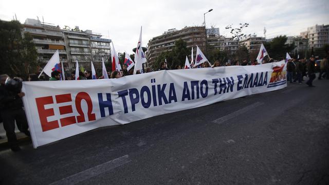 Les chefs de mission de la troïka UE-FMI-BCE chargée d'examiner les comptes de la Grèce faisaient profil bas vendredi à leur arrivée à Athènes, laissant l'avant-scène au président de l'Union européenne Herman Van Rompuy, avant le premier rendez-vous anti-rigueur prévu samedi. [AFP]
