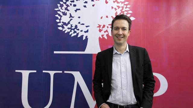 Guillaume Peltier, l'un des membres de la Droite forte, une branche de l'UMP, en février 2012 [Francois Guillot / AFP/Archives]