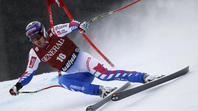Le skieur français Adrien Théaux en course lors du Super-G de Kvitfjell, en Norvège, le 4 mars 2012. [Daniel Sannum Lauten / AFP/Archives]
