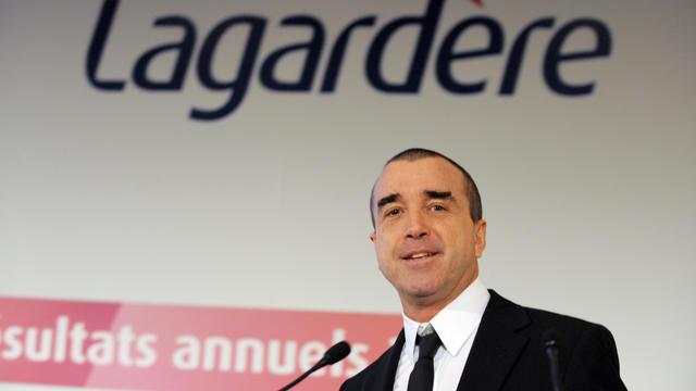 Arnaud Lagardère annonce les résultats annuels de son groupe, le 8 mars 2012 [Eric Piermont / AFP]
