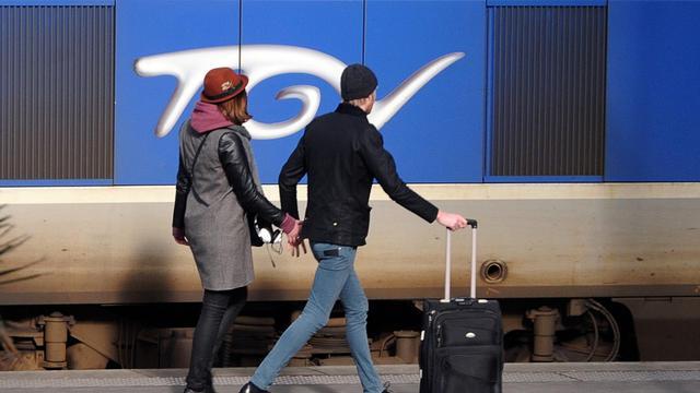 Des voyageurs le long d'un TGV à Lille [Philippe Huguen / AFP/Archives]