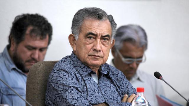 L'indépendantiste de la Polynésie française Oscar Temaru (c), en mars 2012 lors d'une session du parlement à Papeete [Gregory Boissy / AFP/Archives]