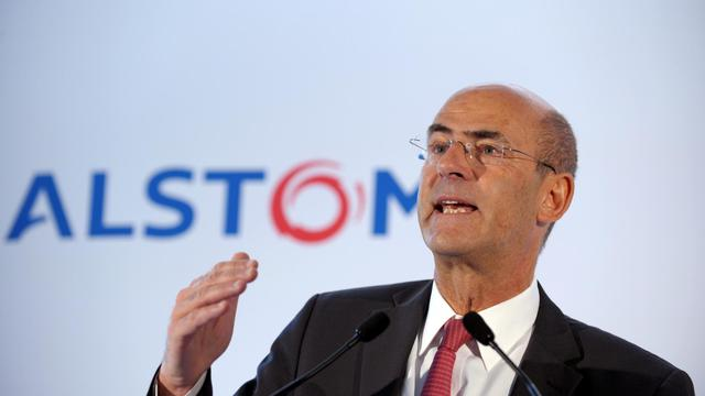 Le PDG d'Alstom Patrick Kron en conférence de presse, le 4 mai 2012 [Eric Piermont / AFP/Archives]