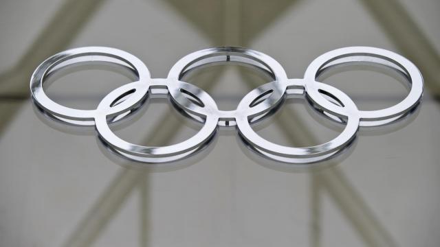 Les annaux olympiques sur le bâtiment du Comité international olympique (CIO) à Lausanne le 8 mai 2012 [Sebastien Bozon / AFP/Archives]