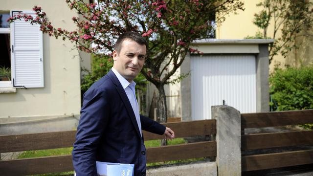Florian Philippot, vice-président du FN, le 20 mai 2012 à Freyming-Merlebach, dans l'est de la France [Jean-Christophe Verhaegen / AFP/Archives]