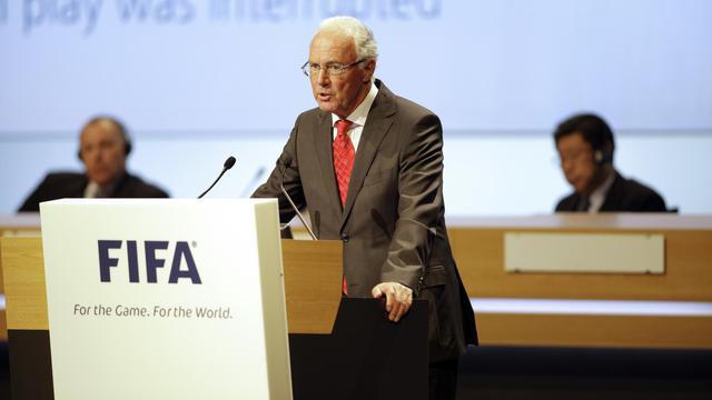 La légende du football allemand Franz Beckenbauer addresses lors d'un discours à Budapest, lors du 62e congrès d ela Fifa le 25 mai 2012 [Peter Kohalmi / AFP]