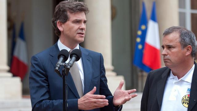 Arnaud Montebourg le 4 juin 2012 sur le perron de l'Elysée après une rencontre avec les représentants syndicaux d'ArcelorMittal [Bertrand Langlois / AFP/Archives]