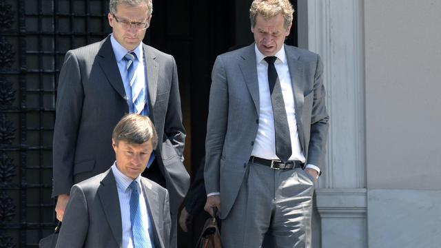 """Formée en 2010 pour sortir Athènes de l'ornière, la """"troïka"""" réunissant le FMI, l'UE et la BCE a vu depuis son unité soumise à rude épreuve par la crise grecque qui a fait apparaître en son sein des désaccords et des tensions. [AFP]"""