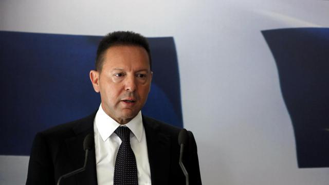 Le ministre grec des Finances Yannis Stournaras en conférence de presse, le 5 juillet 2012 à Athènes [Angelos Tzortzinis / AFP/Archives]