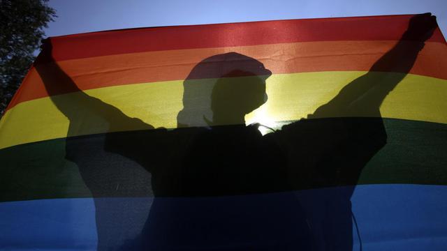 Un homme tient le drapeau arc-en-ciel, symbole de l'homosexualité [Peter Kohalmi / AFP/Archives]