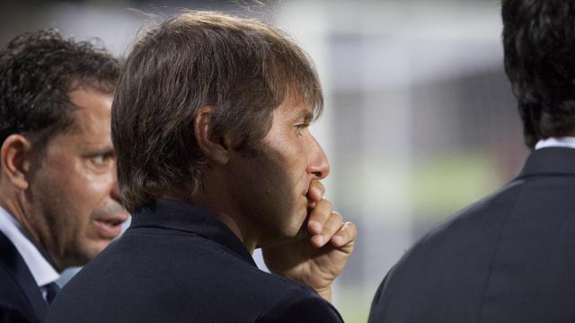 L'entraîneur de la Juventus Turin Antonio Conte, lors d'un entraînement le 4 août 2012 à Salerno (Italie). [Carlo Hermann / AFP]