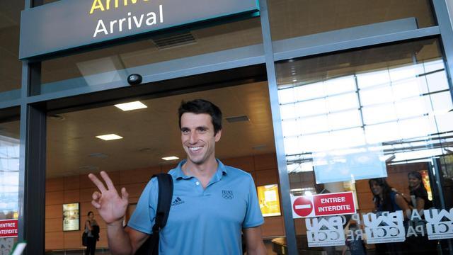 Le triple médaillé olympique de canoë Tony Estanguet à son retour de Londres, le 14 août 2012, à Pau [Laissac Luke / AFP/Archives]