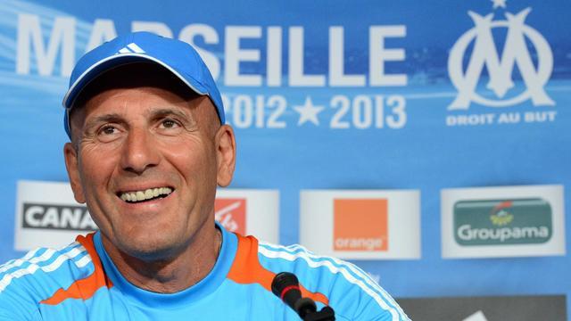Elie Baub, l'entraîneur de Marseille, en conférence de presse après un entraînement, le 17 août 2012, à Marseille. [Gerard Julien / AFP/Archives]